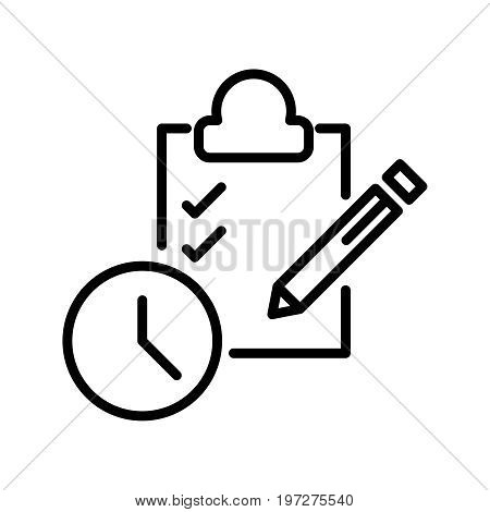 Thin line time management icon. Vector illustration isolated on a white background. Simple outline pictogram of time management.