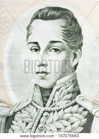 Jose Maria Cordova portrait from Colombian money