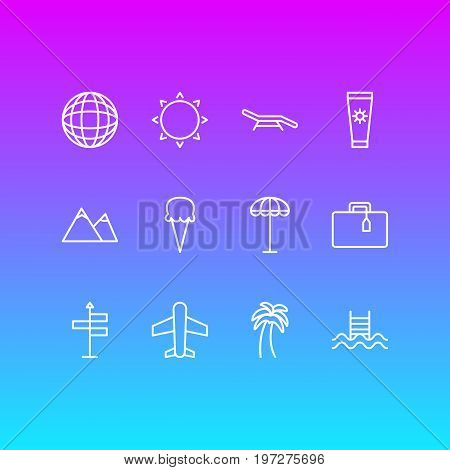 Editable Pack Of Guide, Swimming, Anti-Sun Cream And Other Elements.  Vector Illustration Of 12 Season Icons.