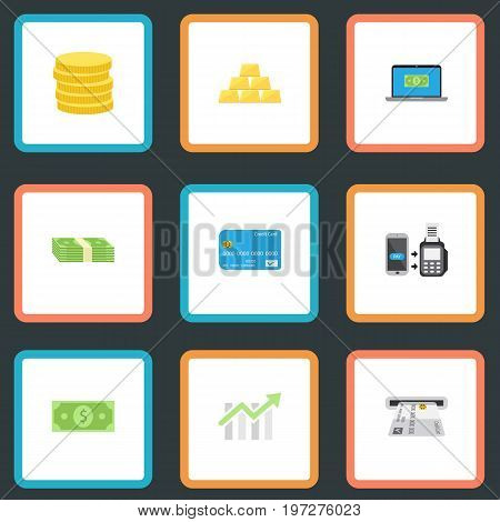 Flat Icons Remote Paying, Small Change, Ingot And Other Vector Elements