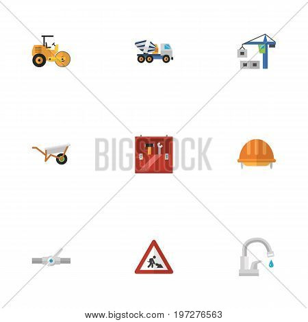 Flat Icons Faucet, Steamroller, Hoisting Machine And Other Vector Elements