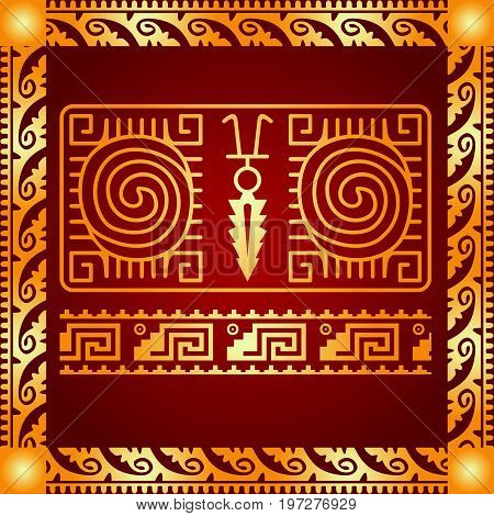 Maya and aztec culture symbolic ornament. Golden symbol
