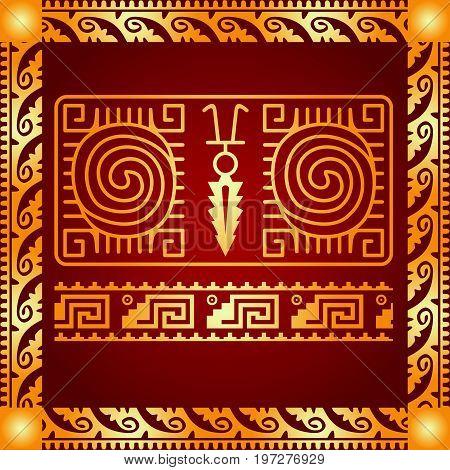 Maya and aztec culture symbolic ornament. Golden symbol