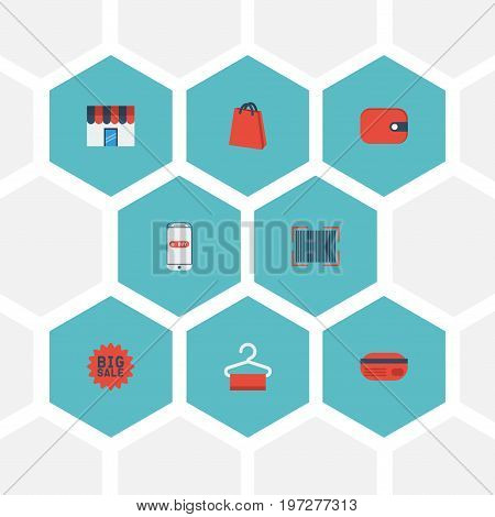 Flat Icons Pouch , Dress Stand , Qr Vector Elements