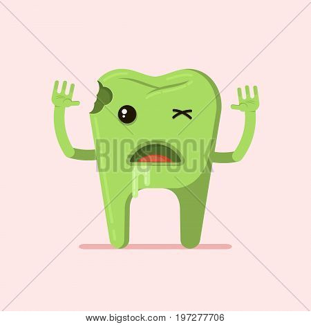 Cartoon tooth zombie with decay and caries. Dental illustration.  Flat illustration