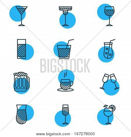 Editable Pack Of Goblet, Martini, Tea Cup And Other Elements.  Vector Illustration Of 12 Beverage Icons.