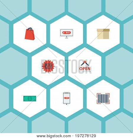 Flat Icons Purchase, Cash, Qr And Other Vector Elements