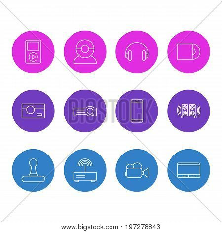 Editable Pack Of Smartphone, Loudspeaker, Dvd Drive And Other Elements.  Vector Illustration Of 12 Gadget Icons.