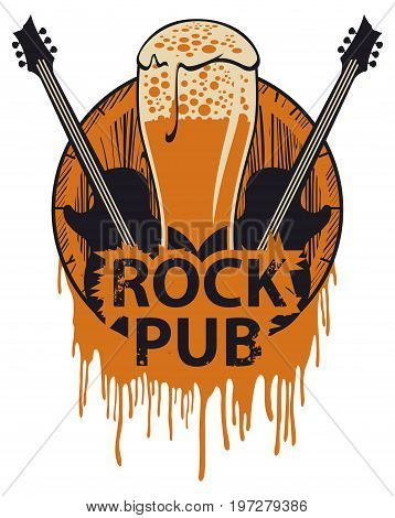 Vector banner for the pub with live music. Illustration with a wooden keg beer glass guitars and words rock pub in retro style
