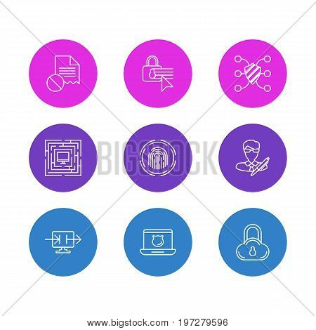 Editable Pack Of Confidentiality Options, Finger Identifier, Safe Storage And Other Elements.  Vector Illustration Of 9 Security Icons.