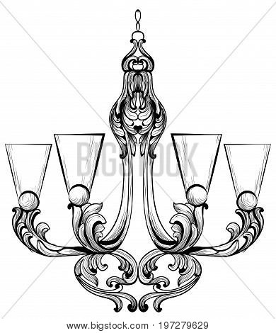 Rich Baroque Classic chandelier. Luxury decors accessory design. Vector illustration sketch