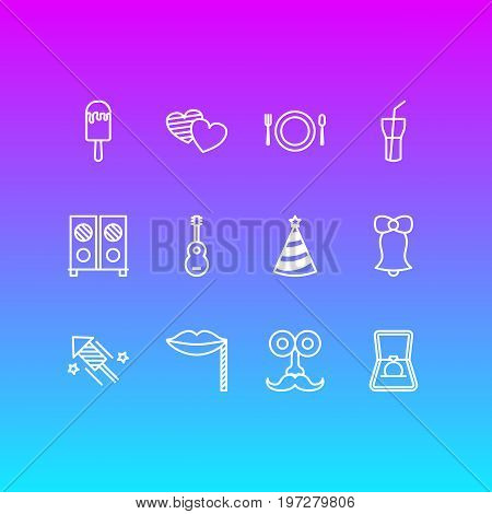 Editable Pack Of Engagement, Sundae, Firecracker And Other Elements.  Vector Illustration Of 12 Banquet Icons.