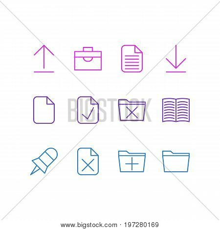 Editable Pack Of Done, Install, Document And Other Elements.  Vector Illustration Of 12 Office Icons.