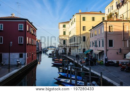 CHIOGGIA, ITALY - FEBRUARY 25. 2017: The old town and the canals at dusk in Chioggia Italy