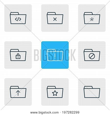 Editable Pack Of Significant, Submit, Closed And Other Elements.  Vector Illustration Of 9 Folder Icons.