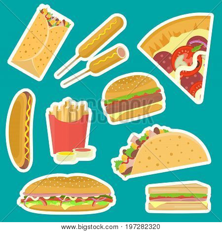 Bright vector fastfood stickers set including hamburger pizza sandwich taco hotdog corndog on blue background. Tasty flat cartoon colorful fast food symbols for cafe bar restaurant menu design.