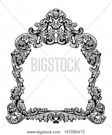 Fabulous Baroque Mirror frame set. Vector French Luxury rich carved ornaments. Victorian wealthy Style furnitures