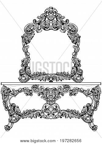 Exquisite Baroque dressing table engraved. Vector French Luxury rich intricate ornamented structure. Victorian Royal Style decors