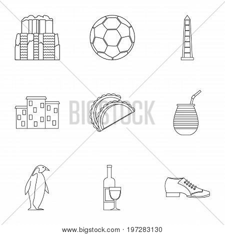 Attractions of Argentina icons set. Outline set of 9 attractions of Argentina vector icons for web isolated on white background
