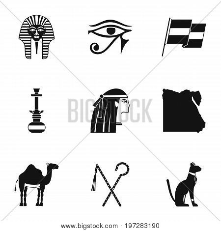 Egypt history icons set. Simple set of 9 Egypt history vector icons for web isolated on white background