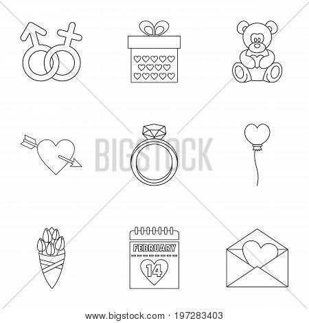 Lovers day icons set. Outline set of 9 lovers day vector icons for web isolated on white background