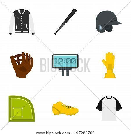 Baseball tournament icons set. Flat set of 9 baseball tournament vector icons for web isolated on white background
