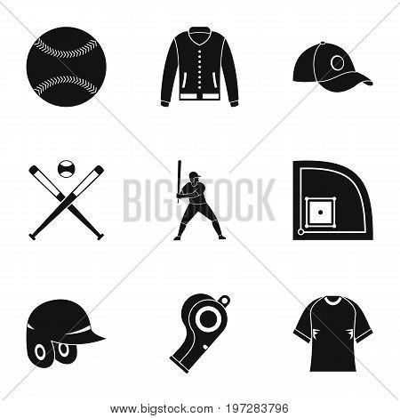 Baseball tournament icons set. Simple set of 9 baseball tournament vector icons for web isolated on white background