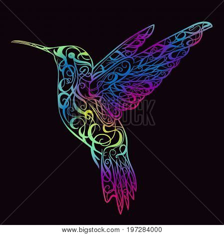 Hummingbird with floral ornament. Design concept for print, card, poster. Colorful hand drawn vector illustration