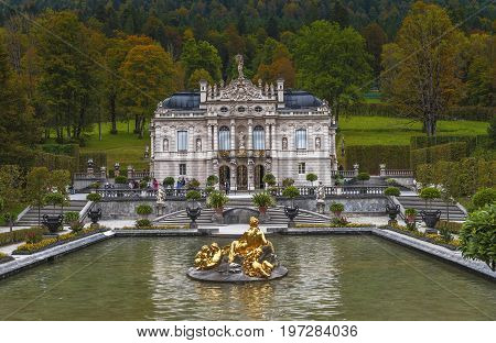 Linderhof, Germany - October 2017: frontal view on Linderhof Palace