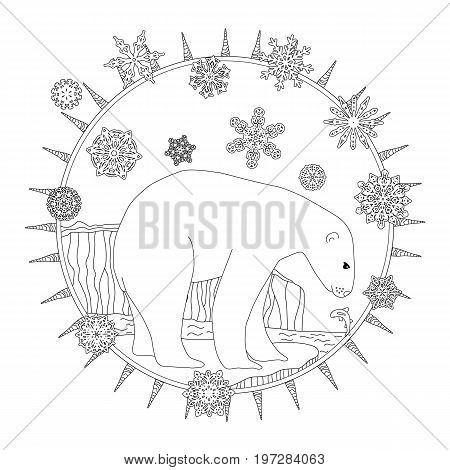 Coloring pages. A polar bear stands in the snow. A winter postcard