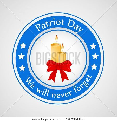 illustration of stamp in candle and ribbon background with Patriot Day we will never forget text on the occasion of Patriot Day