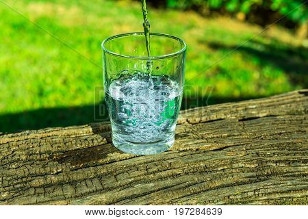 Process of pouring pure clear water into a glass from top wooden log green grass in the background outdoors health hydration cleansing rejuvenation