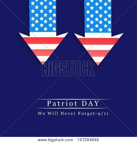 illustration of arrows in USA flag background with Patriot Day We will never Forget text on the occasion of Patriot Day