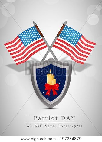 illustration of USA flags and shield in candle ribbon background with Patriot Day We will never Forget text on the occasion of Patriot Day