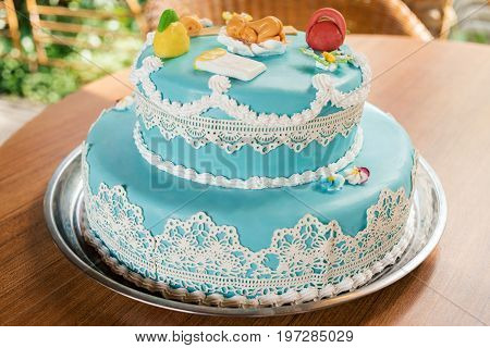 Round Multi Tiered Blue  Birthday Cake With Butterflies And Newborn Metrics, Free Space For Text