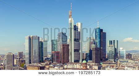 Frankfurt Skyline Aerial View, Skyscrapers And Downtown