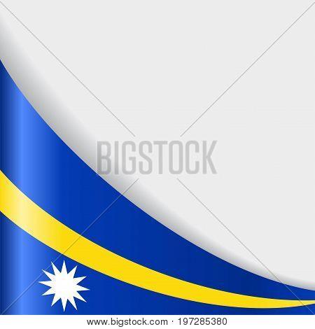 Nauru flag wavy abstract background. Vector illustration.