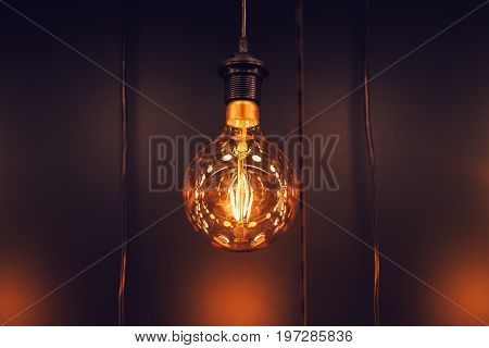 Single Hanging Tungsten Lamp Bulb Decoration Old Vintage Modern Home.