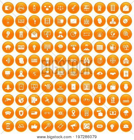 100 security icons set in orange circle isolated on white vector illustration