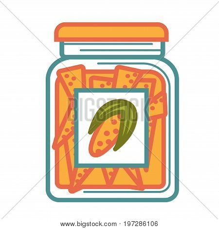 Jar with delicious canned corn with vegetable on sticker isolated cartoon vector illustration on white background. Small cobs in special marinade for longer expiration term in spacious container.