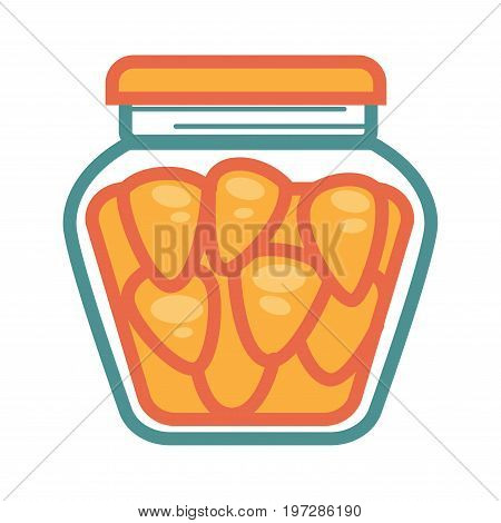 Small canned crispy carrots in jar with rubber cover isolated vector illustration on white background. Tasty healthy vegetable with lot of vitamins and long expiration term in big glass container.