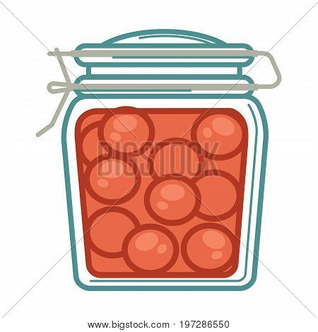 Vector illustration of pickled tomatoes in glass jar.