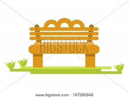 Specious bench of light wood on thick legs and green piece of fresh grass isolated cartoon flat vector illustration on white background. Simple exterior furniture for parks and public places.
