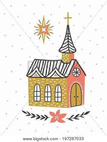 Hand drawn vector card with the Catholic temple and star of Bethlehem. Christmas print design. Vector illustration.