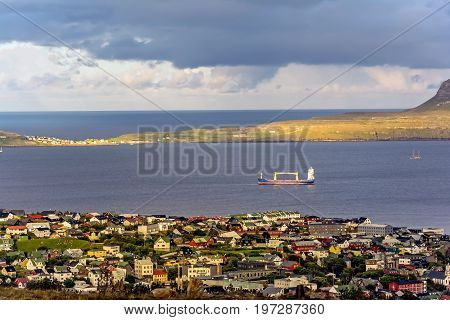 View over Torshavn and the bay, on the Faroe Islands