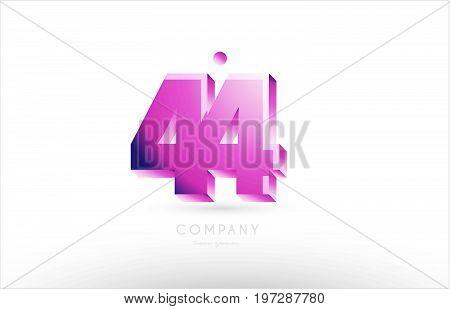 Number 44 Black White Pink Logo Icon Design