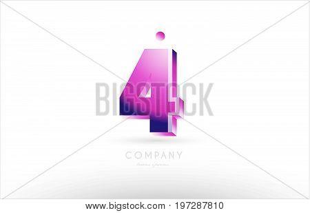 Number 4 Four Black White Pink Logo Icon Design