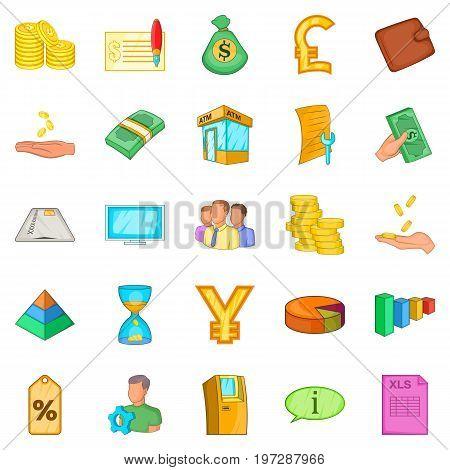 Stocktaking icons set. Cartoon set of 25 stocktaking icons for web isolated on white background