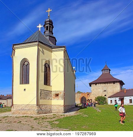 MEDZHYBIZH, UKRAINE - MAY 20, 2017: St.Nicholas Church in Medzhybizh castle, Ukraine. Medzhybizh Castle was built as a bulwark against Ottoman expansion in the 1540s