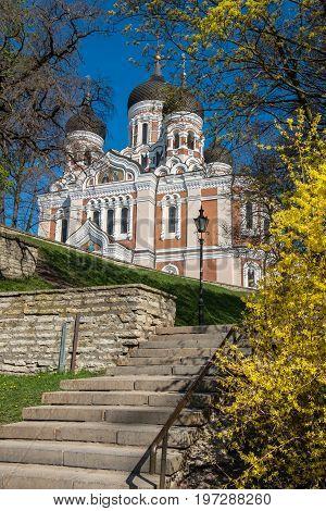Russian Orthodox Cathedral Alexander Nevsky in Tallinn. Estonia Europe